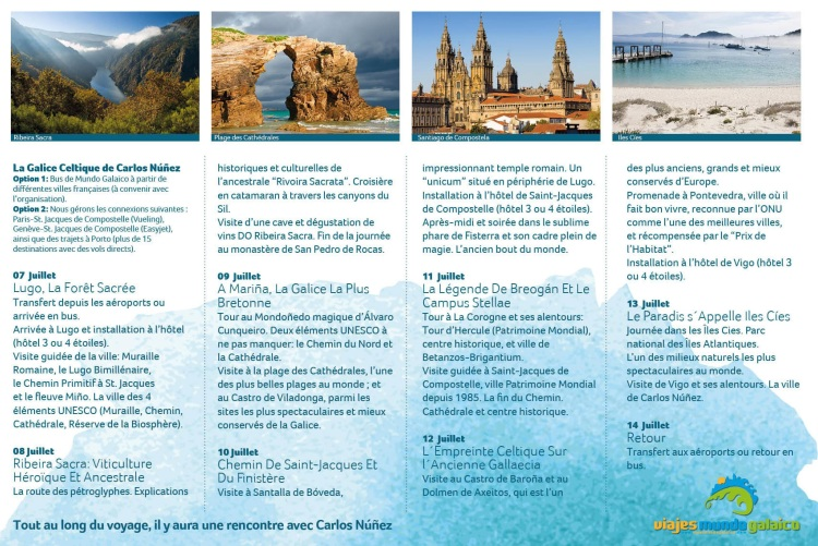 "Programa de viaxe a ""La Galice de Carlos Núñez"""