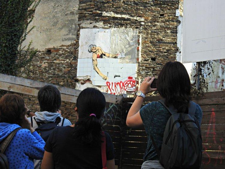 O stencil de Marat, do Primo de Banksy, no barrio da Tinería